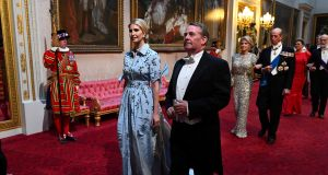 Ivanka Trump and UK international trade secretary Liam Fox arrive for the state banquet for US president Donald Trump  at Buckingham Palace on June 3rd. Photograph: Victoria Jones/Reuters