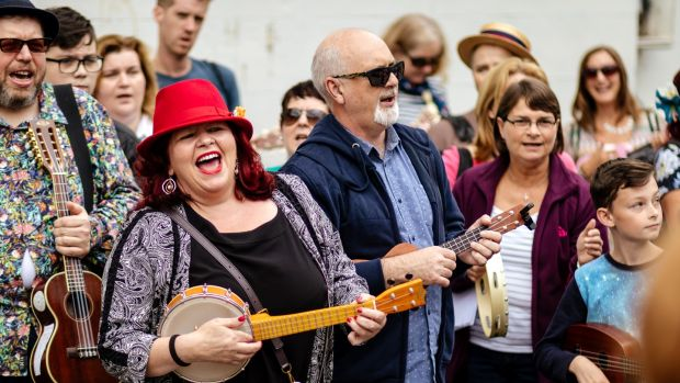 Sheilagh Fox rocking it out at the Ukulele Hooley in Dún Laoghaire. Photograph: David Ramalo