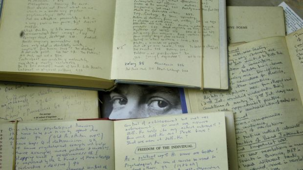 A selection of handwritten notes in some of the books from author Iris Murdoch's working library. Photograph: Ian Nicholson/ PA Images via Getty