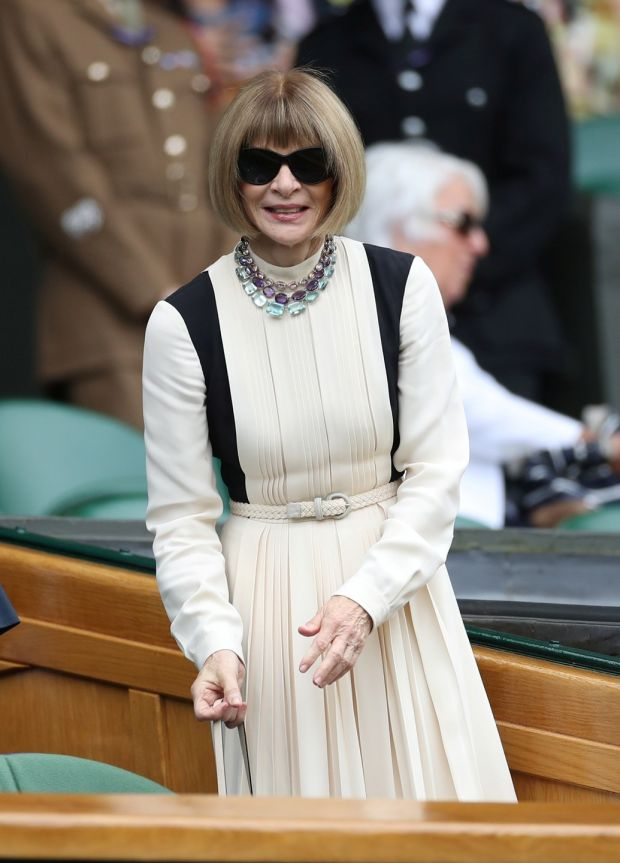 Anna Wintour in the Royal Box before the start of play on centre court. Photograph: Carl Recine/Reuters