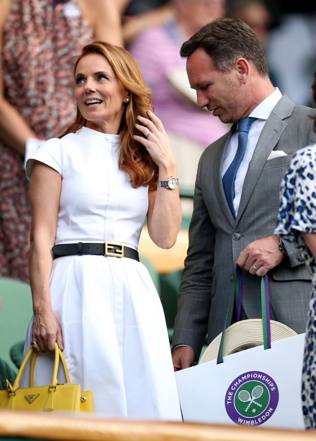 Geri and Christian Horner at centre court action on day five of the Wimbledon Championships. Photograph: Press Association