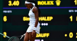 Cori Gauff during her women's singles fourth round match against Simona Halep. Photograph: Getty Images