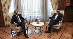 Greece's new prime minister, Kyriakos Mitsotakis, with his predecessor Alexis Tsipras on Monday. Photograph: Yorgos Karahalis/Bloomberg