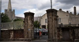 The two ancient stone pillars at the entrance to what was, until last year, Kevin Street Garda station. Photograph: Sara Freund
