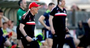 Tyrone manager Mickey Harte during his team's win over Kildare. Photograph: Ryan Byrne/Inpho