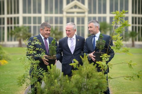 BOTANICAL: Minister for Communications, Climate Action and Environment Richard Bruton TD with Minister of State Andrew Doyle TD and  Mark McAuley, director of Forest Industries Ireland, attend the Real Solutions to Ireland's Climate Emergency conference in the Botanic Gardens, Dublin. Photograph: Dara Mac Dónaill/The Irish Times