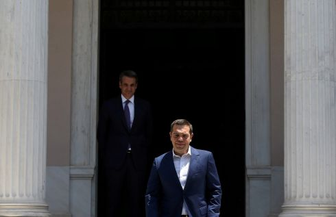 EXIT: Outgoing Greek prime minister Alexis Tsipras leaves the Maximos Mansion after a meeting with newly-appointed prime minister Kyriakos Mitsotakis, in Athens. Photograph: Costas Baltas/Rueters