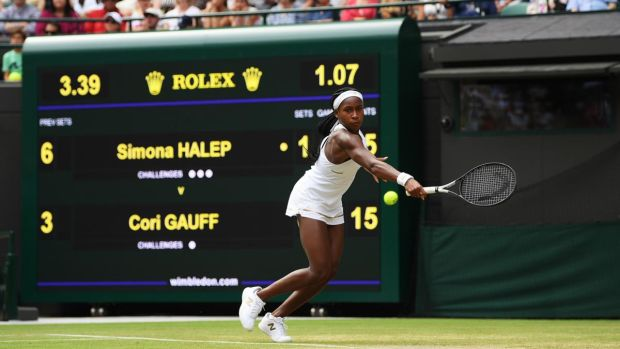 Cori Gauff in action during her fourth round clash with Simona Halep. Photograph: Shaun Botterill/Getty