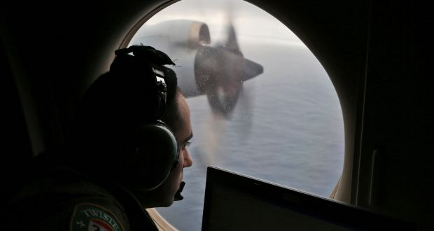 A Royal Australian Air Force aircraft searches for Malaysia Airlines Flight MH370 in the southern Indian Ocean in 2014
