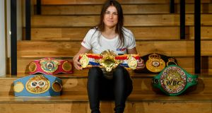 Undisputed World Lightweight Champion Katie Taylor in attendance at an exclusive Sky VIP event at The Lighthouse Cinema, Smithfield. Photo: Sam Barnes/Sportsfile