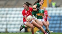 Cork's Ciara O'Sullivan and Ciara Murphy of Kerry during their recent Munster championship clash. Photo: Laszlo Geczo/Inpho