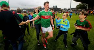 Mayo's Cillian O'Connor celebrates  after the qualifier victory against Galway at the Gaelic Grounds in Co Limerick. Photograph: Ryan Byrne/Inpho