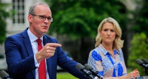 Tánaiste Simon Coveney with Minister of State for European Affairs Helen McEntee: Mr Coveney promises there will be no infrastructure on the Border. Photograph: Gareth Chaney Collins