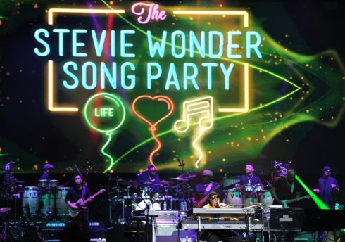 SONG PARTY: Stevie Wonder and his band play the 3Arena in Dublin on Tuesday night. Photograph: Aidan Crawley