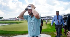 Matthew Wolff reacts after an 18th hole eagle gave him a maiden PGA Tour victory in the 3M Open. Photograph: Craig Lassig/EPA