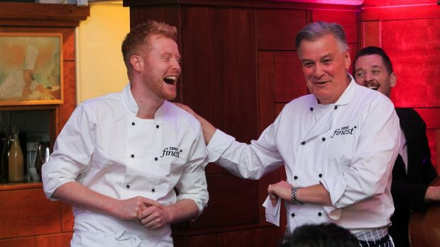 Chefs Mark Moriarty and Derry Clarke at the launch of the Banquet at Electric Picnic in aid of Temple Street and Pieta House at Clarke's l'Ecrivain restaurant, Dublin. Photograph: Gareth Chaney/Collins