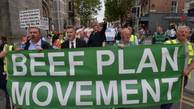 Protesting farmers on their way to the Dáil on Wednesday. Photograph: Alan Betson