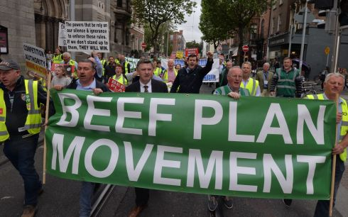 Farmers protest on their way to the Dail following the announcement of the Mercosur trade agreement.The Beef Plan Movement is organising the protest inviting numerous other farming and agricultural organisations to take part.Under the Mercosur deal, announced two weeks ago after some 20 years of negotiations, the EU has agreed to accept 99,000 tonnes of South American beef into its market each year, which farmers claim could cost the Irish beef sector up to €750 million annually. Photograph: Alan Betson / The Irish Times