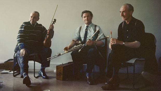 Michael Gorman, Felix Doran and Packie Byrne in a traditional Irish session at the Keele Folk Festival. Photograph: Brian Shuel/Redferns