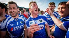 Laois players celebrate their victory over Dublin. They qualified for next season's Leinster championship series by winning the Joe McDonagh Cup. Photograph: Ryan Byrne/Inpho