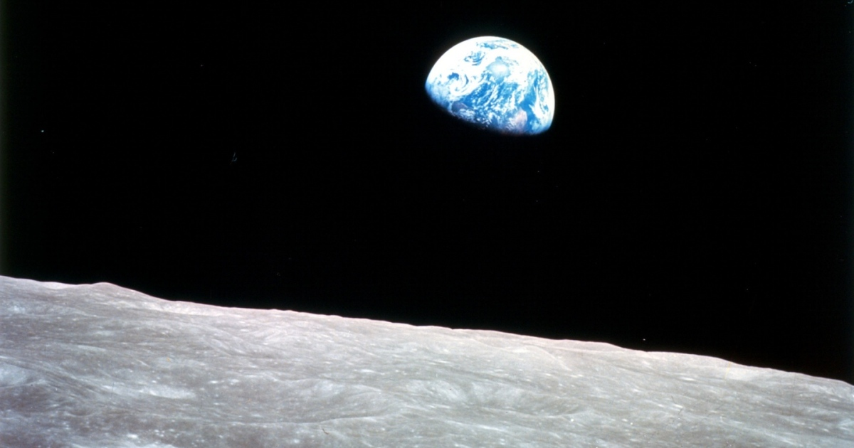 The point was not to get to the moon but to return from its great desolation,  to come back to this astonishing Earth. Photograph: SSPL/Getty Images