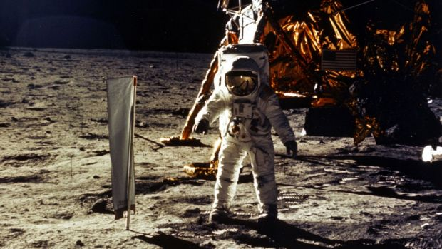 Astronaut Edwin Aldrin Jr landing on the moon on July 20th, 1969. Photograph: NASA/Newsmakers