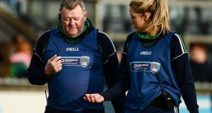 Shane O'Neills joint-managers Peter Lynch and Caoibhe Sloan in 2016. The pair are hoping to lead Down to success this year. Photograph:  Sam Barnes/Sportsfile