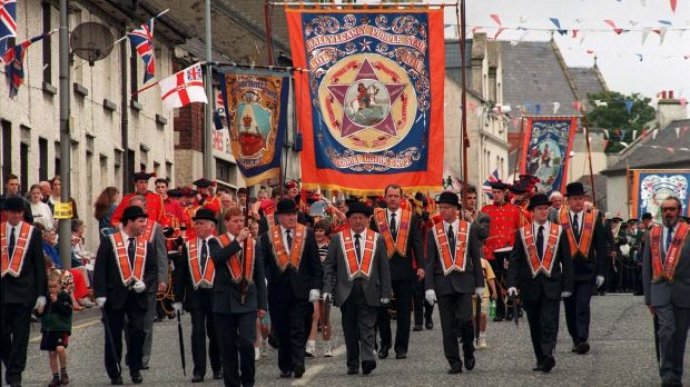 A 12th of July parade through Tandragee. Photograph: Frank Miller/The Irish Times.