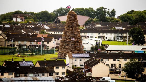 Craigyhill bonfire is prepared in Larne, Co Antrim ahead of the Twelfth. Photograph: Liam McBurney/PA Wire