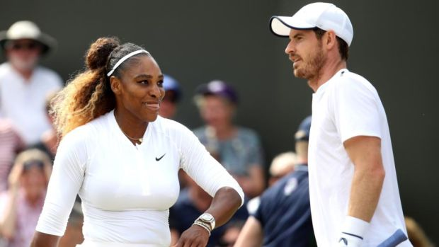 Andy Murray and Serena Williams during their mixed doubles third-round defeat to Bruno Soares and Nicole Melichar at Wimbledon. Photograph: Alex Pantling/Getty Images