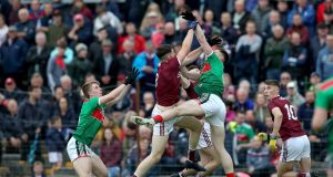 Galway's Matthias Barrett and Gavin Durcan of Mayo contest a high ball during the Connacht under-20 final. Photo: Bryan Keane/Inpho