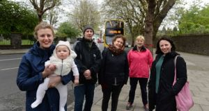 Inchicore residents (from left) Lauren Tuite, baby Margot, Gerard Greene, Annie Dibble, Christine Kavanagh and Elizabeth Burns on Grattan Crescent. They are among a number of local objectors to the felling of  trees on the road. Photograph: Dara Mac Donaill