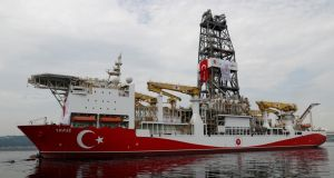 Turkish ship Yavuz anchored off Cyprus's east coast in preparation for drilling. Photograph: Murad Sezer/Reuters