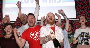 Members of the LGBT community celebrate in  Belfast, as same-sex marriage in Northern Ireland came a step closer. Photograph: Peter Morrison/PA