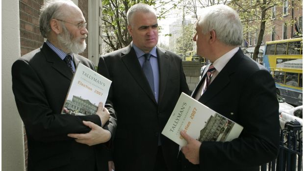 The then taoiseach Bertie Ahern (right) and Dermot Bolger (left) at the launch of Noel Whelan's book, The Tallyman's Campaign Handbook Election 2007. Photograph: The Irish Times