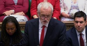 Labour leader Jeremy Corbyn speaks during Prime Minister's Questions in the House of Commons on Wednesday. Photograph:  House of Commons/PA Wire
