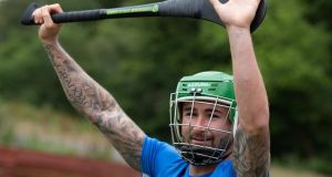 Seán Maguire and his Preston teammates played hurling as part of a team bonding session in Cork. Photograph: Preston North End/Twitter