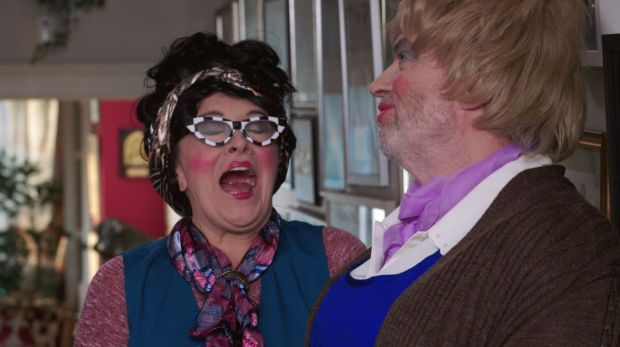 Twink and Jonathan Ryan as comedy duo Bernie and Rose Violet.