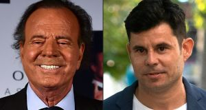 Spanish singer Julio Iglesias in Mexico city(left)  and Javier Sanchez Santos in Valencia. Photograph:  Ronaldo Schemidt/ Jose Jordan/AFP/Getty Images