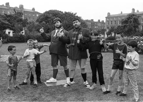 Brendan Grace as Bottler, and his double from the Dublin Wax Museum, with local children at the launch of the Rehab-Lotteries Double Win game, in Mountjoy Square, Dublin, in 1976. Photograph: Jack McManus/The Irish Times
