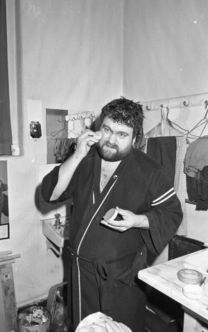 Brendan Grace prepairing for a show in the Gaiety Theatre, Dublin, January 1986. Photograph: Getty Images/INM