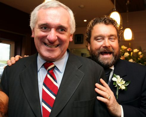 Bertie Aherne drops in on Brendan Grace at the wedding of his daughter, Melanie,  at the Armada Hotel in Spanish Point, Co Clare. Photograph:  Don Moloney/Press 22