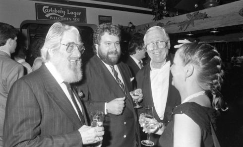 At the premier of U2's Rattle and Hum film at in the Savoy Cinema, Duiblin, in 1988. On the left is Ronnie Drew of The Dubliners. Photograph: Getty Images/INM