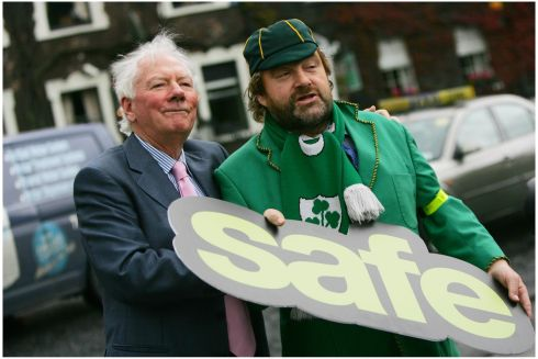 With Gay Byrne, then chairman of the Road Safety Authority, at an event in August 2009 to publicise the relaunch of the Safe Cross Code song as part of a package of measures aimed at primary school children.  Photograph: Bryan O'Brien/THe Irish Times