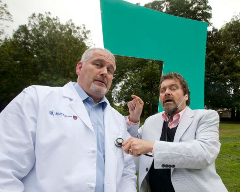 Brendan Grace with Dr Mick Molloy at the lauch of a campaign over vaccine uptake, in December  2011. Photograph: Dave Cullen