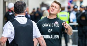 British far-right activist  Tommy Robinson, arrives at the Old Bailey  in London, England. Photograph:  Luke Dray/Getty Images