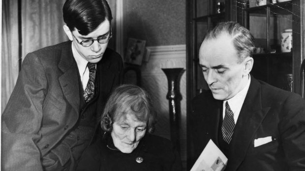 January 1948: Sean MacBride (right) with his mother Maud Gonne MacBride and his son Tiernan look over an album of photos of Troubled Times in Ireland