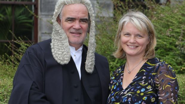 Noel Whelan with his wife, Sinead McSweeney, pictured following a ceremony in the Supreme Court last year after he was called to the inner bar. Photograph: Collins Courts