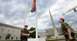 The LGBT Pride Rainbow flag is raised over the Dáil during last month's celebrations. Photograph: Alan Betson