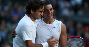 Rafael Nadal is congratulated by Roger Federer after winning their their match in 2008. Photograph: Getty Images